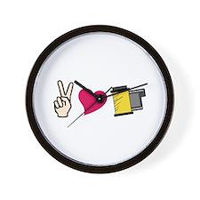 Peace Love Film Wall Clock
