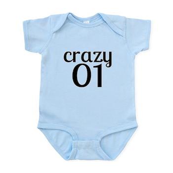 Crazy 01 Birthday Designs Baby Light Bodysuit T Shirt 1 Year Old