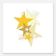 "Gold Stars Square Car Magnet 3"" x 3"""