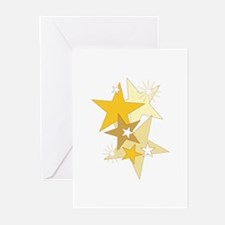 Gold Stars Greeting Cards