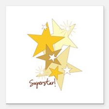"Gold Stars Superstar Square Car Magnet 3"" x 3"""