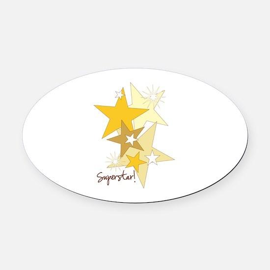 Gold Stars Superstar Oval Car Magnet