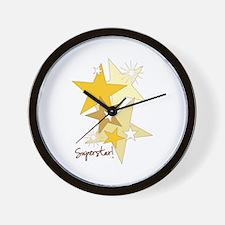 Gold Stars Superstar Wall Clock