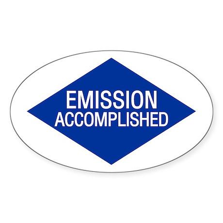 Emission Accomplished Oval Sticker
