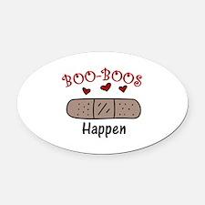 Boo Boos Happen Oval Car Magnet