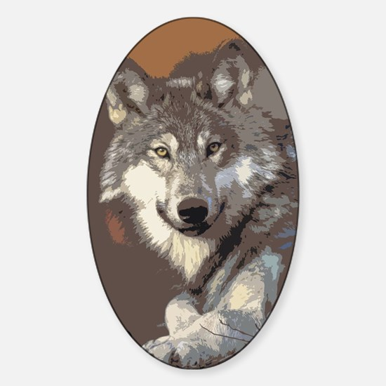 Cute Wolf paper Sticker (Oval)