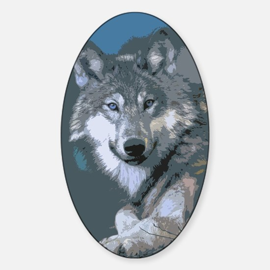 Cool Wolf paper Sticker (Oval)