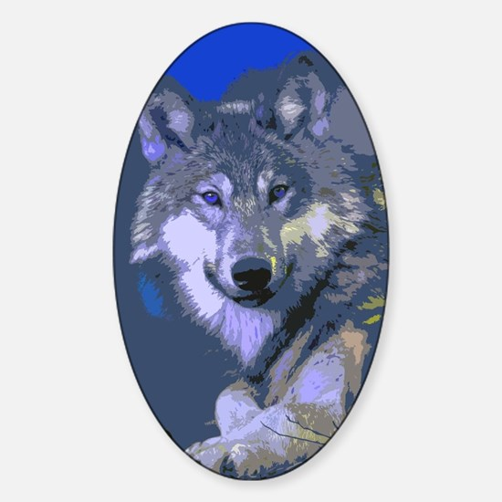 Funny Wolf paper Sticker (Oval)