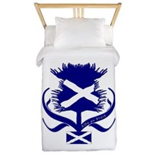 Scottish Navy Blue Thistle Twin Duvet
