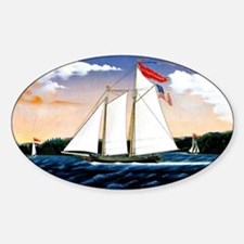 Casper Lawson, vintage sailboat Sticker (Oval)