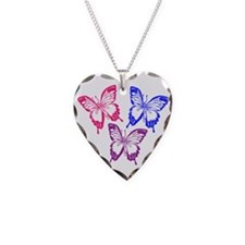 Bisexual Butterfly Necklace Heart Charm