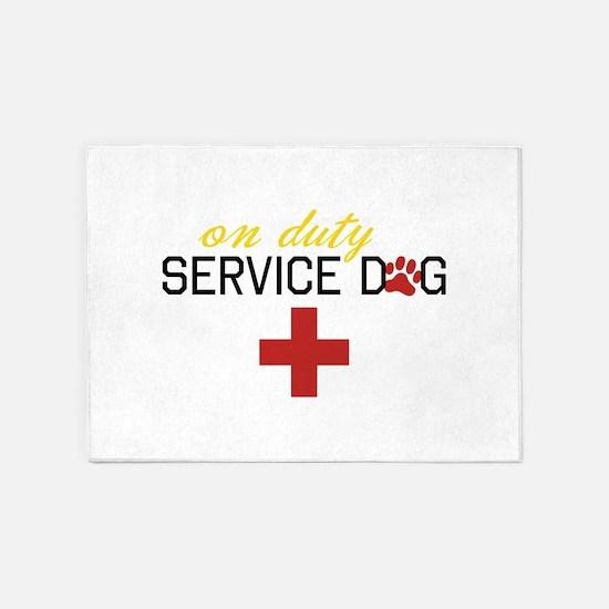 On Duty Service Dog 5'x7'Area Rug