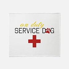 On Duty Service Dog Throw Blanket