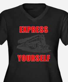 Express Yourself Women's Plus Size V-Neck Dark T-S