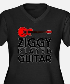 Ziggy Played Guitar Women's Plus Size V-Neck Dark