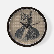 Harlequin Cat Wall Clock