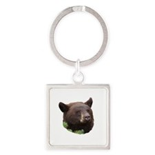 Black Bear with Blond Color Square Keychain