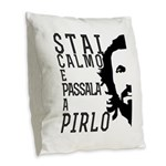 Stai calmo e passala a Pirlo Burlap Throw Pillow