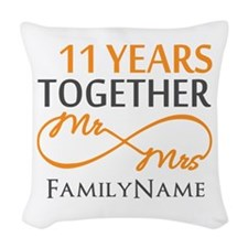 11th anniversary Woven Throw Pillow