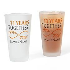 11th anniversary Drinking Glass