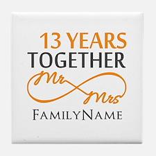 13th anniversary wedding Tile Coaster