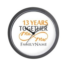 13th anniversary wedding Wall Clock