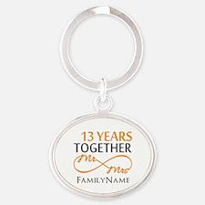 13th anniversary wedding Oval Keychain