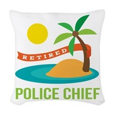 Retired Police chief Woven Throw Pillow