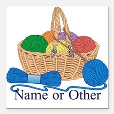 "Personalized Knitting Square Car Magnet 3"" x 3"""