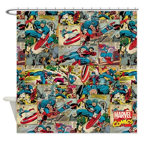 Captain america collage shower curtain by captainamerica - Captain america curtains ...