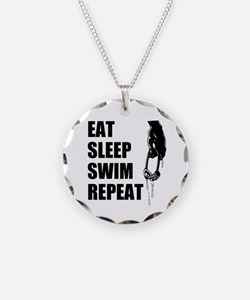 Eat Sleep Swim Repeat For Necklace