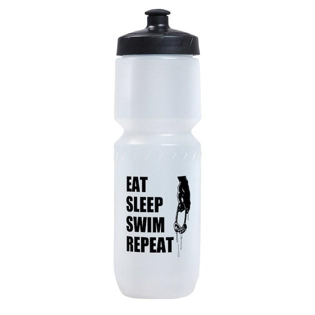 Eat Sleep Swim Repeat Sports Bottle By Hqart
