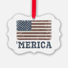 'Merica Flag Vintage Ornament