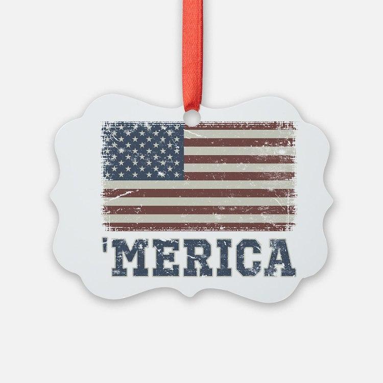 'Merica Flag Vintage Ornament