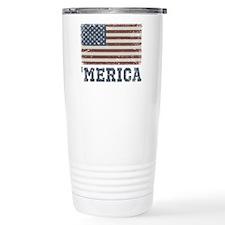 'Merica Flag Vintage Travel Mug
