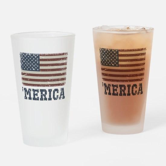 'Merica Flag Vintage Drinking Glass