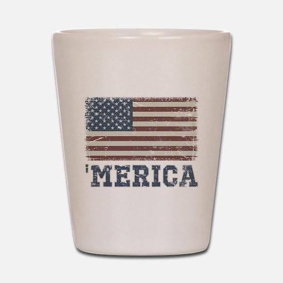 'Merica Flag Vintage Shot Glass