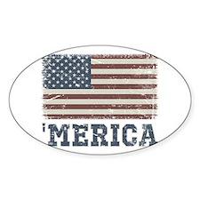 'Merica Flag Vintage Decal