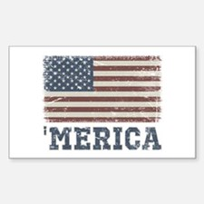 'Merica Flag Vintage Sticker (Rectangle)