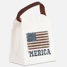 'Merica Flag Vintage Canvas Lunch Bag