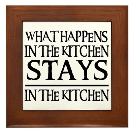 STAYS IN THE KITCHEN Framed Tile