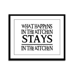 STAYS IN THE KITCHEN Framed Panel Print