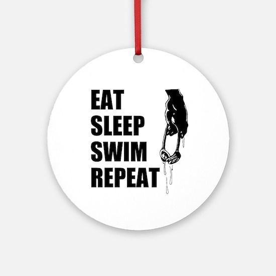 Eat Sleep Swim Repeat Ornament (Round)