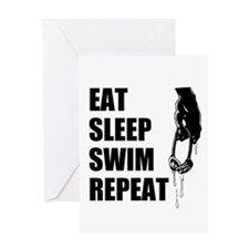 Eat Sleep Swim Repeat Greeting Cards