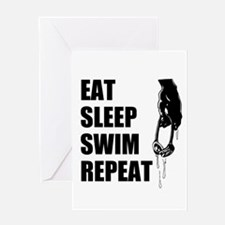 Eat Sleep Swim Repeat Greeting Cards
