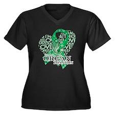 Organ Donor Women's Plus Size V-Neck Dark T-Shirt