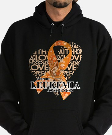 Leukemia Love Hope Bird Hoodie (dark)