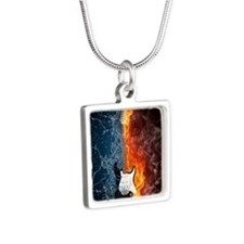 musical water on fire Silver Square Necklace
