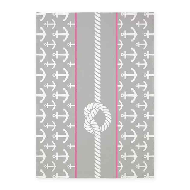 Gray And Pink Anchor Nautical Rope 5'x7'Area Rug By