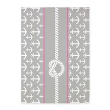 Gray and Pink Anchor Nautical Rope 5'x7'Area Rug